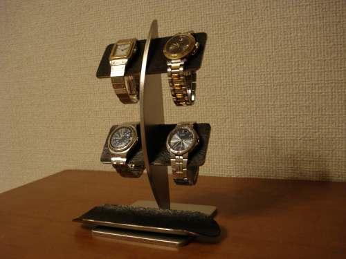 アクセサリースタンド ブラックコルクバーロングトレイ腕時計スタンド