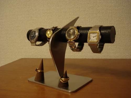 父の日に 腕時計スタンド ブラックコルクリングスタンド付きウォッチケーススタンド
