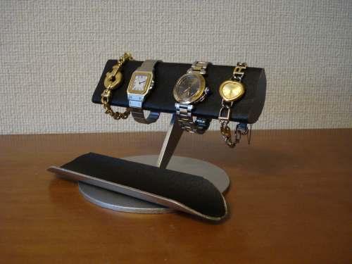 父の日に ブラックコルク4本掛けロングトレイ半円腕時計スタンド