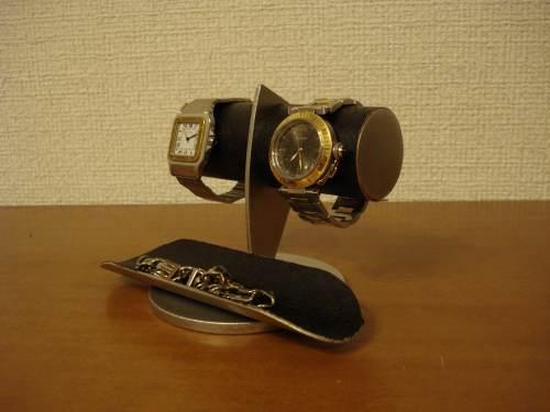 誕生日に時計スタンド 2本掛け黒コルク腕時計スタンド KK23