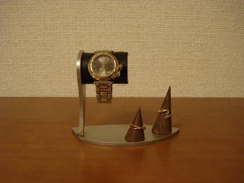 誕生日に腕時計スタンド デザインブラックコルクデスク腕時計スタンド ダブルリングスタンド付き WS137