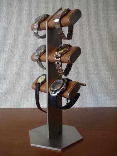 お父さんの日に 腕時計スタンド 6本掛け腕時計&革バンド時計タワースタンド WSD77
