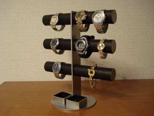 時計スタンド 送料無料12本掛けブラックダブル角トレイ腕時計スタンド WSD675
