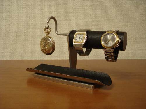 懐中時計スタンド 送料無料ブラック2本掛け腕時計、懐中時計スタンド ロングトレイ付き WSD4822