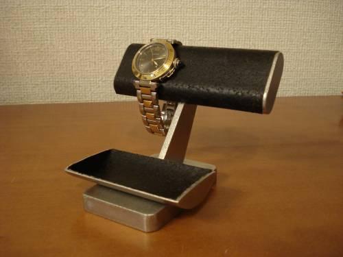 ウオッチ スタンド 腕時計スタンド 送料無料ブラックコルク2本掛けインテリア腕時計スタンド