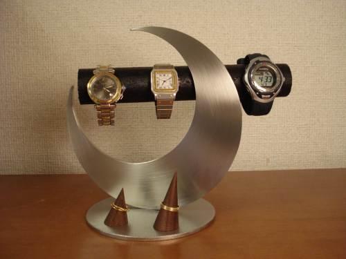 お父さんの日に 腕時計スタンド 送料無料金環日食ブラック腕時計&指輪スタンド WRD88