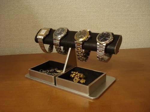 時計スタンド 腕時計 スタンド 4本用 誕生日プレゼント ノベルティー ウォッチスタンド ケース 時計置き 時計ケース ディスプレイスタンド ギフト 贈り物 時計 飾る 腕時計 収納 ブラックだ円パイプ4本掛けダブルでかいトレイ 腕時計スタンド 時計ケース 送料無料