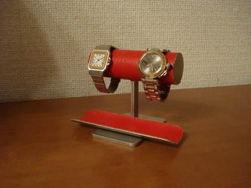 父の日プレゼント ウォッチスタンド 送料無料レッド2本掛けロングトレイウォッチ収納インテリアスタンド RWS77