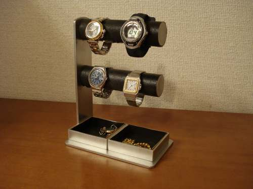 誕生日に アクセサリースタンド 送料無料誕生日プレゼントに最適 2段でかいトレイ4〜6本掛けブラック腕時計スタンド
