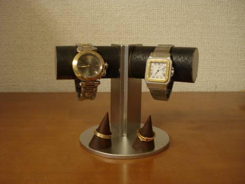 時計スタンド 腕時計 スタンド 送料無料角度付き2本掛けダブルリングブラックウォッチスタンド
