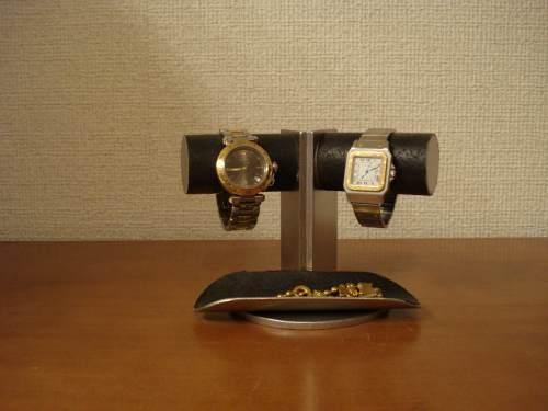 誕生日プレゼントに 腕時計スタンド 送料無料2本掛け角度付きブラックトレイ付きウォッチスタンド