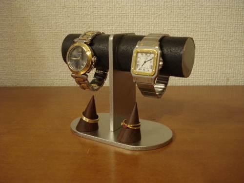 時計スタンド 腕時計 スタンド 2本用 時計 スタンド 腕時計スタンド ウォッチスタンド 時計置き ディスプレイスタンド 国産   アクセサリースタンド 送料無料2本掛けダブルリングスタンドブラック腕時計スタンド