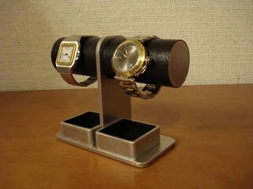 腕時計スタンド 送料無料コンパクト2本掛けダブルトレイ腕時計スタンド