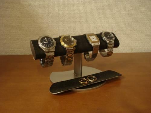送料無料 腕時計収納 ブラック4本掛けロングトレイウォッチディスプレイスタンド