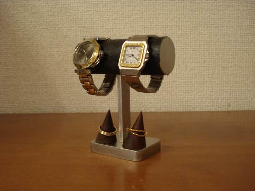 時計スタンド 腕時計 スタンド 2本用 時計 スタンド 腕時計スタンド ウォッチスタンド 時計置き ディスプレイスタンド 国産 腕時計 インテリア 腕時計 飾る プレゼント 腕時計スタンド ギフト 送料無料ブラック2本掛けダブルリングスタンド付き腕時計スタンド