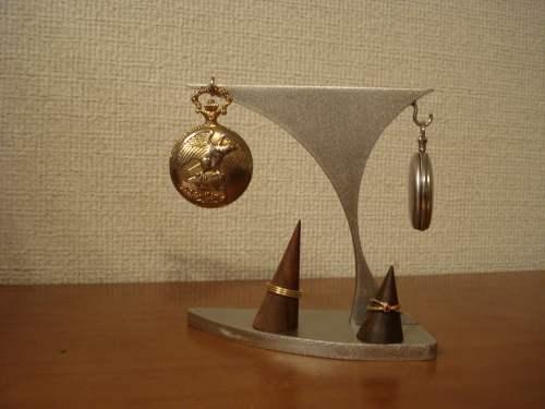 懐中時計 スタンド 2本掛けあっち向きこっち向き懐中時計スタンド ダブルリングスタンド