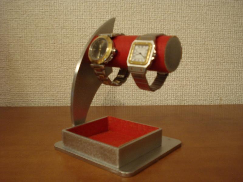 誕生日プレゼントに 時計スタンド 送料無料レッド2本掛けでかいトレイ付き腕時計スタンド DKTS48