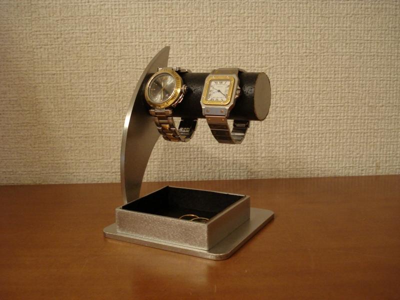 父の日 時計スタンド 送料無料ブラック2本掛けでかいトレイ付き時計収納スタンド
