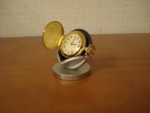 誕生日プレゼントに 時計スタンド 送料無料ブラック横向き懐中時計蓋開きディスプレイスタンド