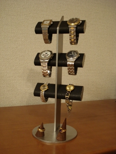 腕時計スタンド 送料無料ブラック6本掛けダブルリングスタンド付きアクセサリースタンド