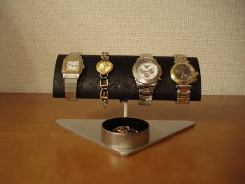 腕時計ケース 幅広だ円ブラック男性用腕時計スタンド 丸トレイバージョン RAT774
