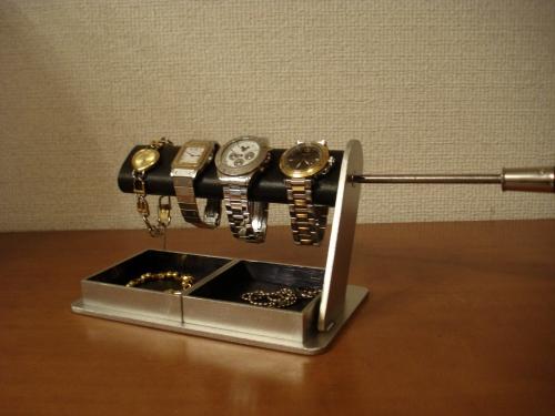 ウォッチスタンド プレゼント 誕生日プレゼント ノベルティー ハンドメイド 時計ケース ディスプレイスタンド 記念品 ギフト 贈り物 時計 飾る 腕時計 収納ドライバーでだ円パイプの角度を自由自在に変えることが出来る腕時計スタンド ダブル超デカイトレイ付き