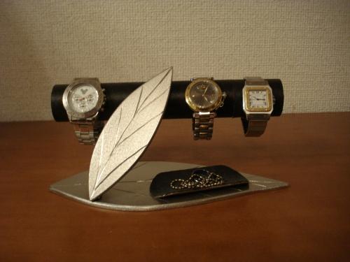 父の日プレゼント 腕時計スタンド ダブルリーフトレイ付き時計インテリア収納スタンド