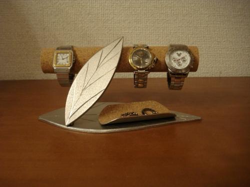 時計スタンド 腕時計 スタンド 時計を飾る ダブルリーフ小物入れ付き腕時計収納スタンド スタンダード