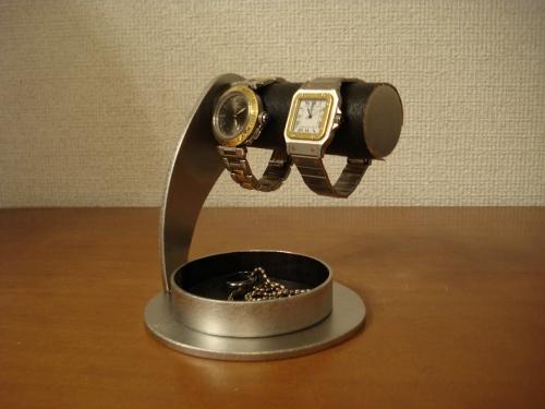 時計収納 丸台座超でかい丸トレイブラック2本掛け腕時計スタンド AKT773