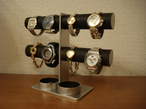 腕時計スタンド ウォッチスタンド 結婚祝い 退職祝い 誕生日プレゼント クリスマス ノベルティ 腕時計収納 バレンタインデー 彼氏へプレゼント 腕時計飾る 時計を飾る 腕時計を飾る 新婚祝い 記念品 ダブル丸トレイ8本掛けブラックウォッチマンションスタンド