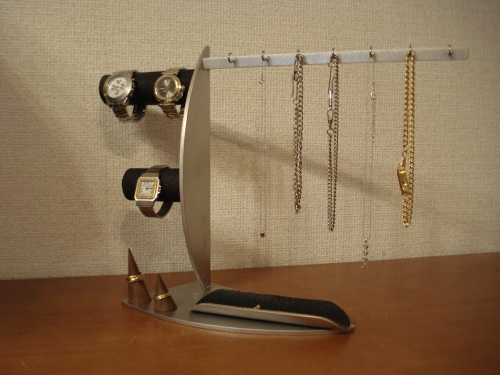 腕時計スタンド 誕生日プレゼントに!ネックレス7本、腕時計3本、リング2ヶブラックアクセサリースタンド