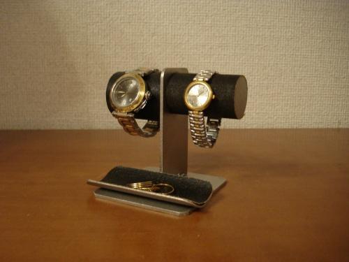 誕生日プレゼントに 太いパイプ男性用 細いパイプ女性用黒腕時計スタンド ブラック!