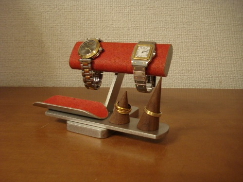 時計スタンド 彼女へのプレゼントに!レッドリングスタンド!腕時計スタンド★指輪スタンド付き