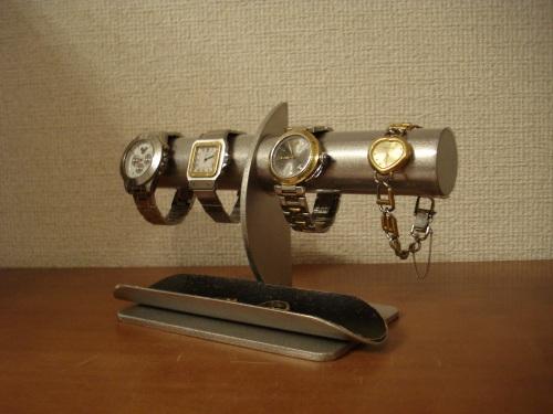 腕時計スタンド 三日月支柱4本掛け透明シートブラックトレイ腕時計スタンド パパの日に