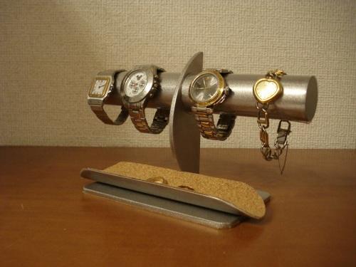 父の日ギフト 腕時計スタンド 三日月支柱4本掛け透明シートロングトレイ腕時計スタンド
