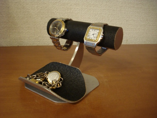 誕生日プレゼントに 腕時計スタンド どでかいトレイ付き腕時計スタンド ブラック RAT227