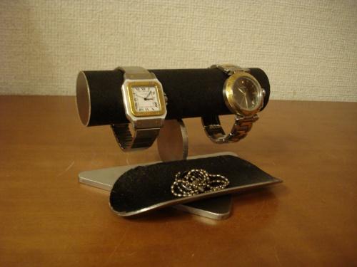 誕生日プレゼントに 腕時計スタンド ブラック2本掛けロングトレイバージョン
