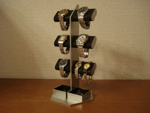 父の日プレゼント 腕時計スタンド ブラック6本掛けダブル角トレイ腕時計スタンドタワー RAK65