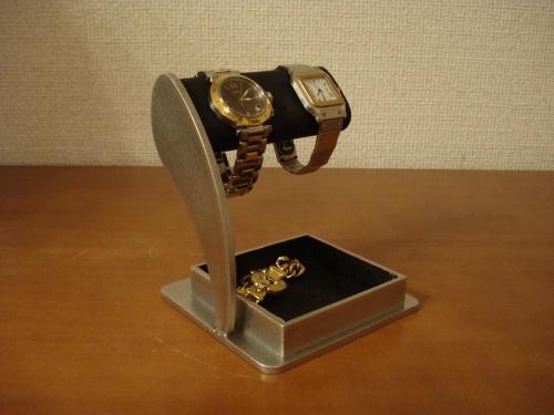 ブラック2本掛けアクセサリー収納トレイ腕時計スタンド RAK776