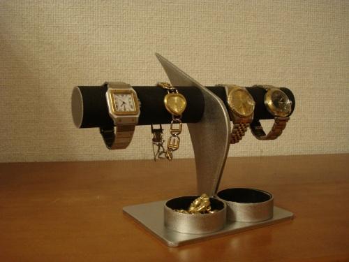 父の日プレゼント 腕時計スタンド ブラックインテリア腕時計スタンド 丸トレイ付き RAK443