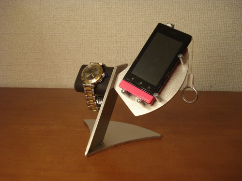 腕時計スタンド ブラック、ステンレス混合腕時計、スマホ、携帯電話スタンド