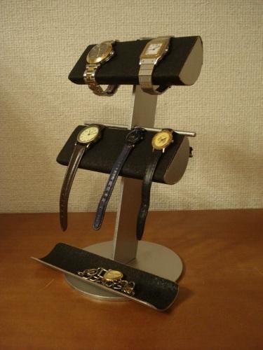 時計スタンド ブラック革バンド&メタルバンド4本掛けトレイ付き腕時計スタンド