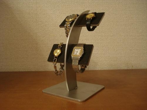 父の日に 腕時計スタンド 反り返る4本掛けブラック腕時計スタンド RAK886