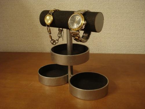 アクセサリースタンド ブラック2段トレイ2本掛け腕時計&アクセサリースタンド RAK509