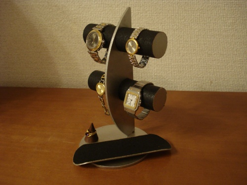 誕生日プレゼントに ウォッチスタンド ブラック三日月腕時計スタンド!ロングトレイ、指輪スタンド付き RAK774