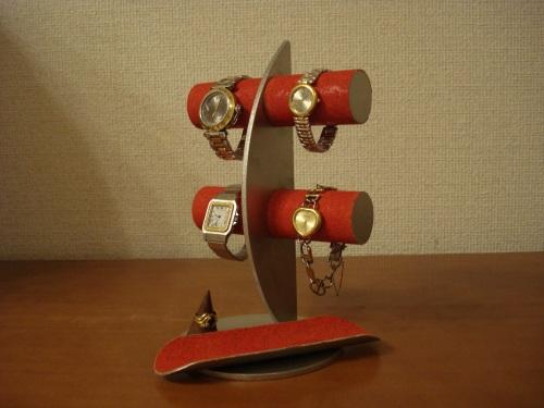 腕時計スタンド レッド三日月腕時計スタンド!ロングトレイ、指輪スタンド付き RAK438