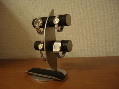 ウォッチスタンド ブラック三日月ムーン腕時計ディスプレイスタンド!ロングトレイバージョン RAK773