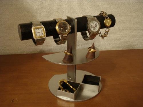 プレゼントに 腕時計スタンド ダブル角トレイアクセサリースタンドブラック RAK629