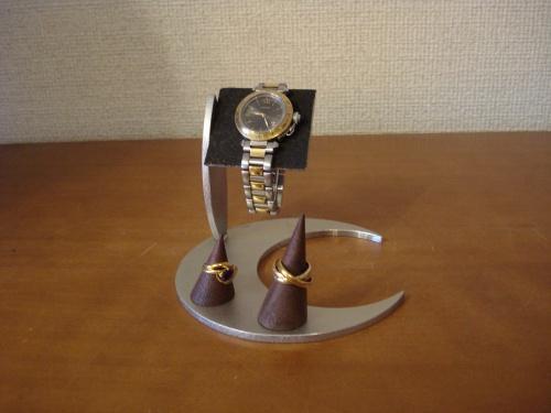 ウォッチスタンド ブラックムーンデザイン台リングスタンド付き コルクバー腕時計スタンド RAK5518