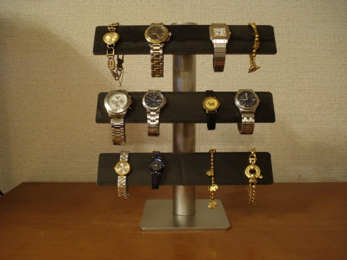 時計スタンド 3段バー可動式腕時計スタンド コルク貼りバージョンブラック RAK663